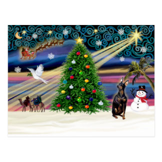 Magia de Navidad MinPin-sentar-cosechada Postal
