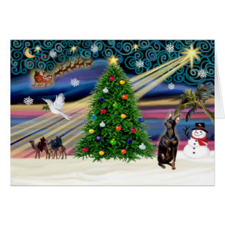 Magia de Navidad MinPin-sentar-cosechada Tarjeta De Felicitación