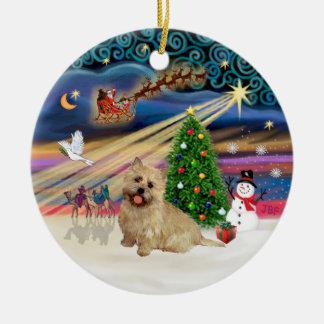 Magia de Navidad - mojón Terrier (13 de trigo) Adorno Redondo De Cerámica