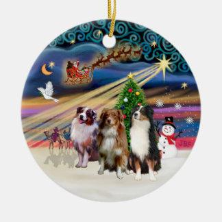 Magia de Navidad - pastores australianos (tres) Adorno Redondo De Cerámica