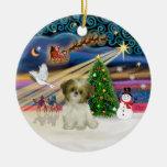 Magia de Navidad - perrito de Shih Tzu (marrón-bla Ornamento Para Arbol De Navidad
