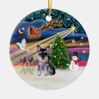 Magia de Navidad - perrito del Schnauzer z Ornamento De Navidad