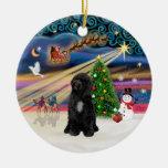 Magia de Navidad - perro de agua portugués (R-sién Adornos