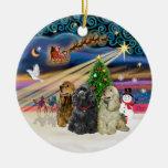 Magia de Navidad - perros de aguas de cocker Ornaments Para Arbol De Navidad
