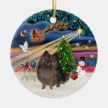 Magia de Navidad - Pomeranian Brindle Adorno Para Reyes
