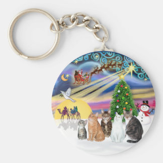 Magia de Navidad (r) - cinco gatos (AmSH) Llavero Redondo Tipo Pin