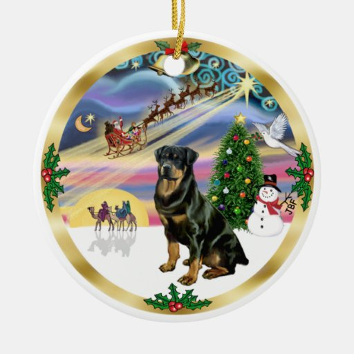 Magia de Navidad - Rottweiler 3 Adorno Navideño Redondo De Cerámica