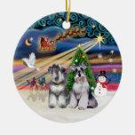 Magia de Navidad - Schnauzers (dos) Ornamentos De Navidad