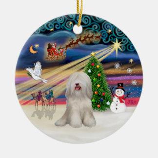 Magia de Navidad - Terrier tibetano (blanco) Ornamento Para Arbol De Navidad