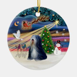 Magia de Navidad - Terrier tibetano (BW) Ornamentos Para Reyes Magos