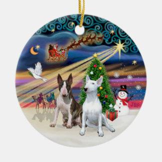 Magia de Navidad - terrieres de Bull (dos) Adorno