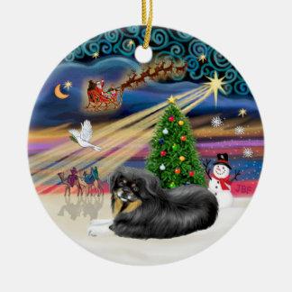 Magia de Navidad - TibetanSpaniel (negro-moreno) Ornamentos Para Reyes Magos