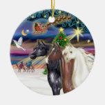 Magia de Navidad - tres caballos árabes Adorno De Reyes
