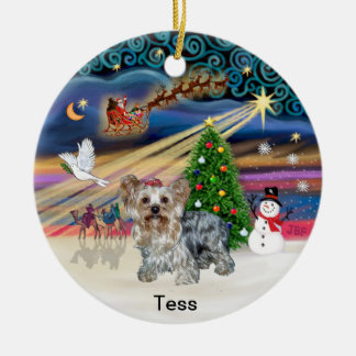 Magia de Navidad - Yorkshire Terrier (t) Adorno Navideño Redondo De Cerámica