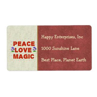 Magia del amor de la paz etiqueta de envío