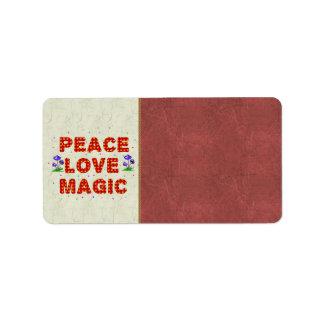 Magia del amor de la paz etiquetas de dirección
