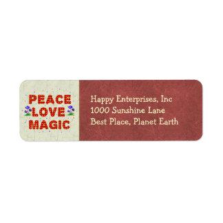 Magia del amor de la paz etiquetas de remite