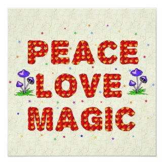 """Magia del amor de la paz invitación 5.25"""" x 5.25"""""""