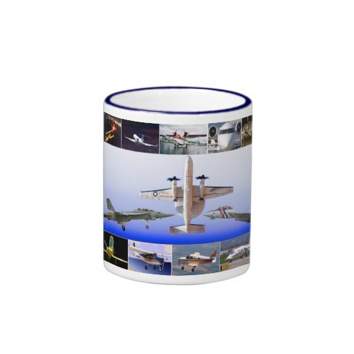 Magia del collage del aeroplano del vuelo taza de café