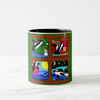 Magia del día de fiesta del collage de la orca taza de café