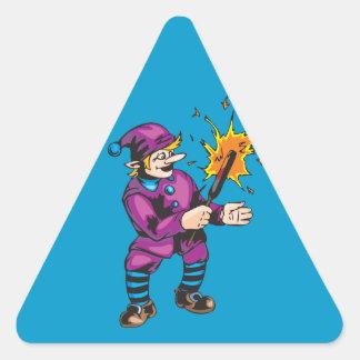 Magia del duende pegatina triangular