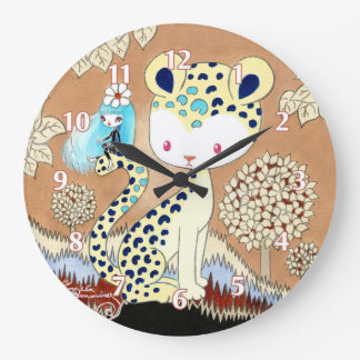 Magia del guepardo de la selva reloj redondo grande