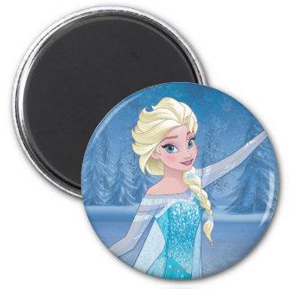 Magia del invierno de Elsa el   Imán Redondo 5 Cm
