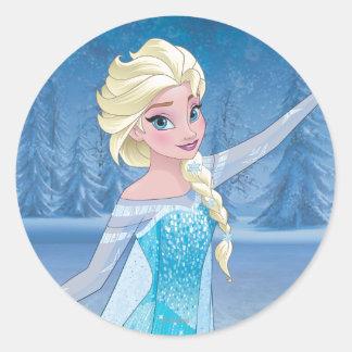 Magia del invierno de Elsa el   Pegatina Redonda