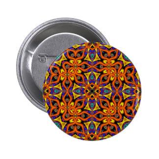 Magia del mandarín de Kreations del caleidoscopio Pin Redondo De 2 Pulgadas