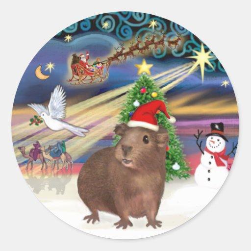 Magia del navidad - conejillo de Indias #3 (gorra) Pegatina Redonda