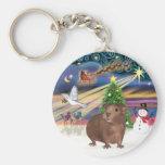Magia del navidad - conejillo de Indias #3 Llavero Personalizado