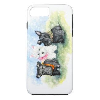 Magia del perrito del escocés y de Westie Funda iPhone 7 Plus