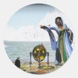 Magia del pingüino y la bruja del invierno pegatina redonda