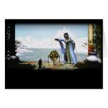 Magia del pingüino y la bruja del invierno tarjeta de felicitación