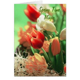 Magia del tiempo de primavera tarjeta de felicitación