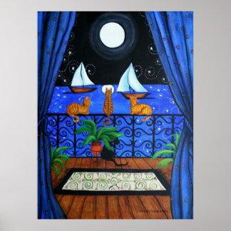 Magia mágica de Nite de la noche de los gatos Poster