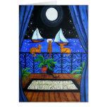 Magia mágica de Nite de la noche de los gatos Tarjetón