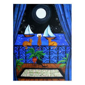 Magia mágica de Nite de la noche de los gatos Postal