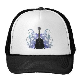Magia negra de la guitarra acústica gorros bordados
