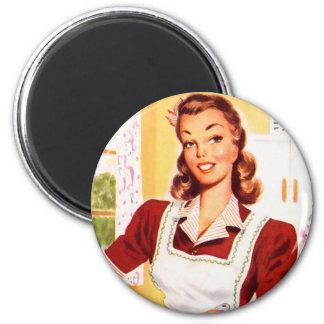 Magia retra de la cocina del kitsch 50s de las muj imanes de nevera