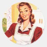 Magia retra de la cocina del kitsch 50s de las muj pegatinas redondas