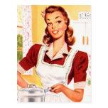 Magia retra de la cocina del kitsch 50s de las postal