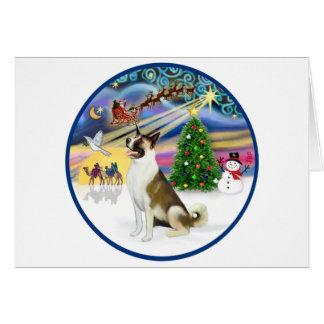 Magia y Akita de Navidad Tarjetón