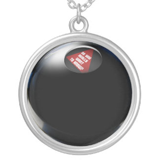 "Magic 8 Ball says, ""Do you really want to know?"" Silver Plated Necklace"