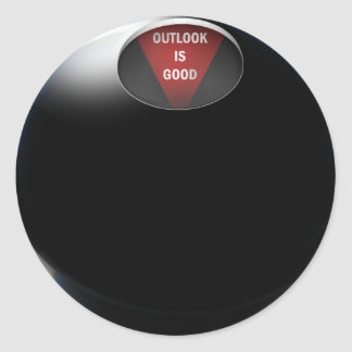 """Magic 8 Ball says, """"Outlook is Good"""" Classic Round Sticker"""