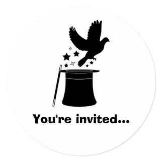 Magic Act: Dove, Hat and Stars Birthday Invitation