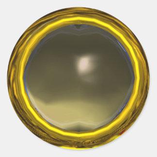 MAGIC AGATE, bright vibrant yellow grey Round Stickers