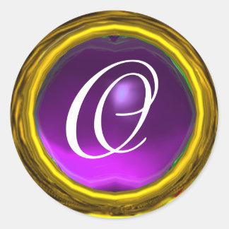 MAGIC AMETHYST MONOGRAM bright vibrant purple Round Sticker
