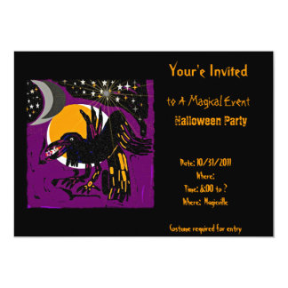Magic and mystery Halloween raven party invitation