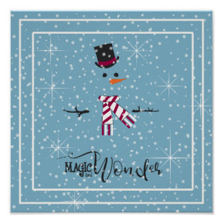 Magic and Wonder Christmas Snowman Blue ID440 Poster